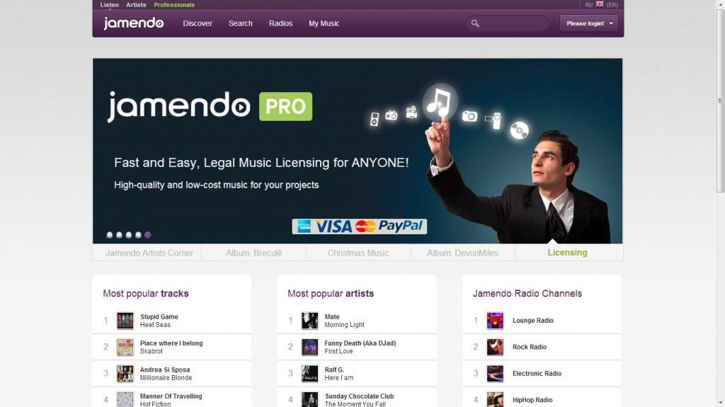 свободная музыка на jamendo