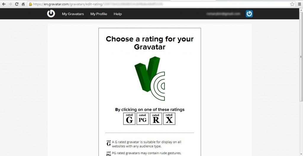 Выбор рейтинга аватара